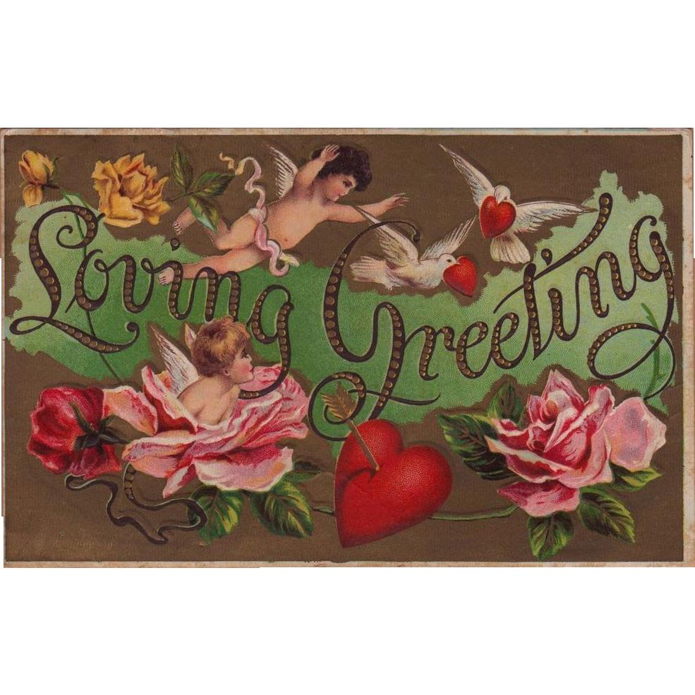 Antique Loving Cherub  & Cupid Valentine Greeting Postcard