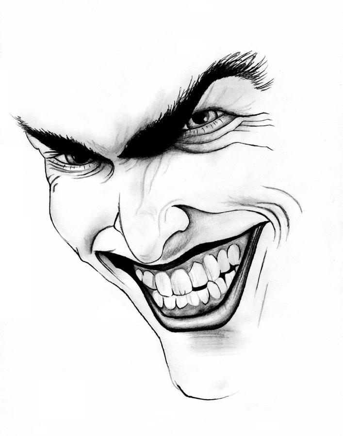 Pencil Face Joker Simple Drawing