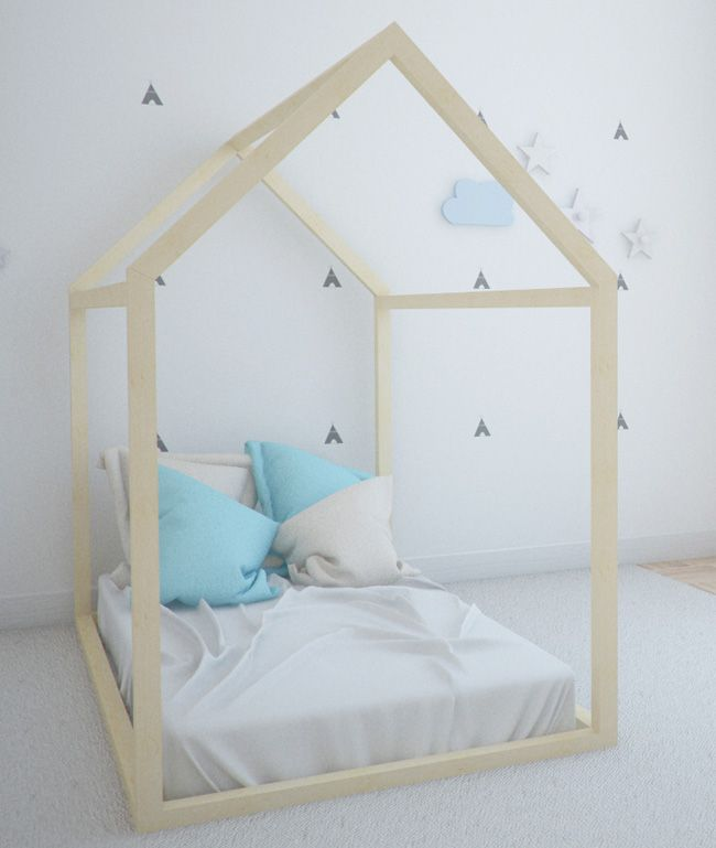 Estructura cama casita montessori cama ni os pinterest - Estructura dosel cama ...