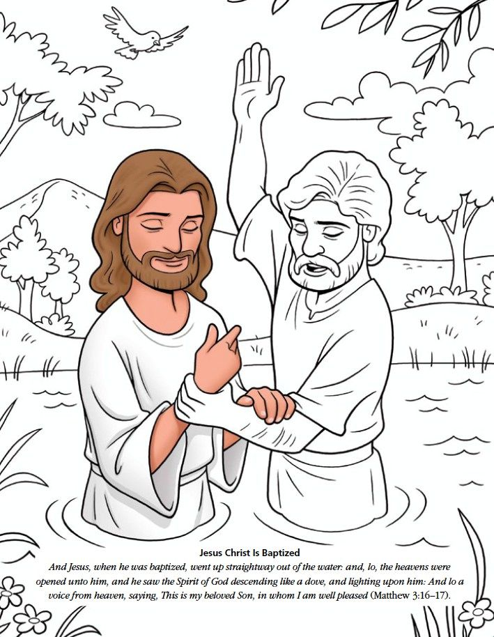 Jesus Christ is Baptized | Sunday school coloring pages ...