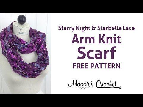 Arm Knit Starbella Lace & Starry Night Ribbon Yarn Purple Cowl Scarf ...