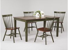 Cottage Dinette Antique Green and Tobacco 5 Pc. Set