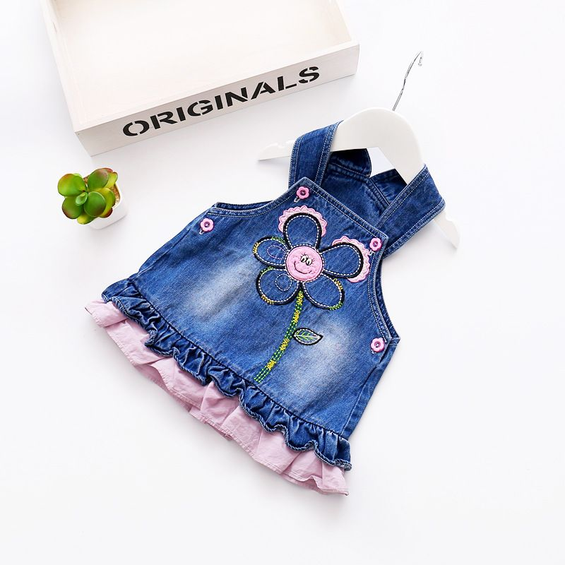 50c67568cb24 2017 Spring Baby Girls Jeans Dress Floral Embroidered Ruffles Sweet ...