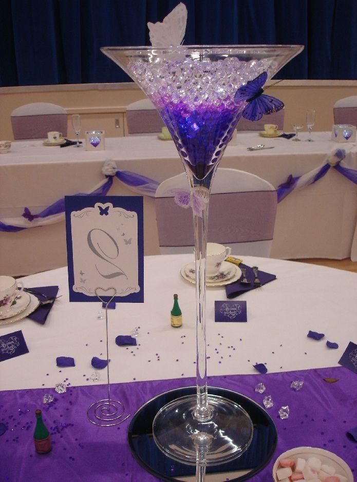 Martini Glass Decorations For Wedding Martini Glass Centrepiece Denim And Diamonds 50th