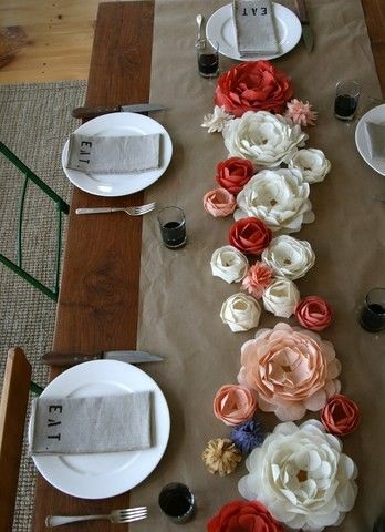 Thanksgiving table low centerpiece paper flowers for Diy thanksgiving floral centerpieces