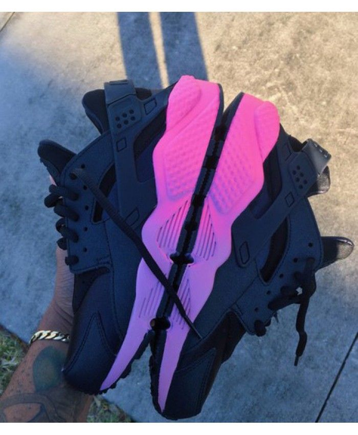 buy online 4a2f9 2d7ac Nike Air Huarache Black Pink Purple Trainer