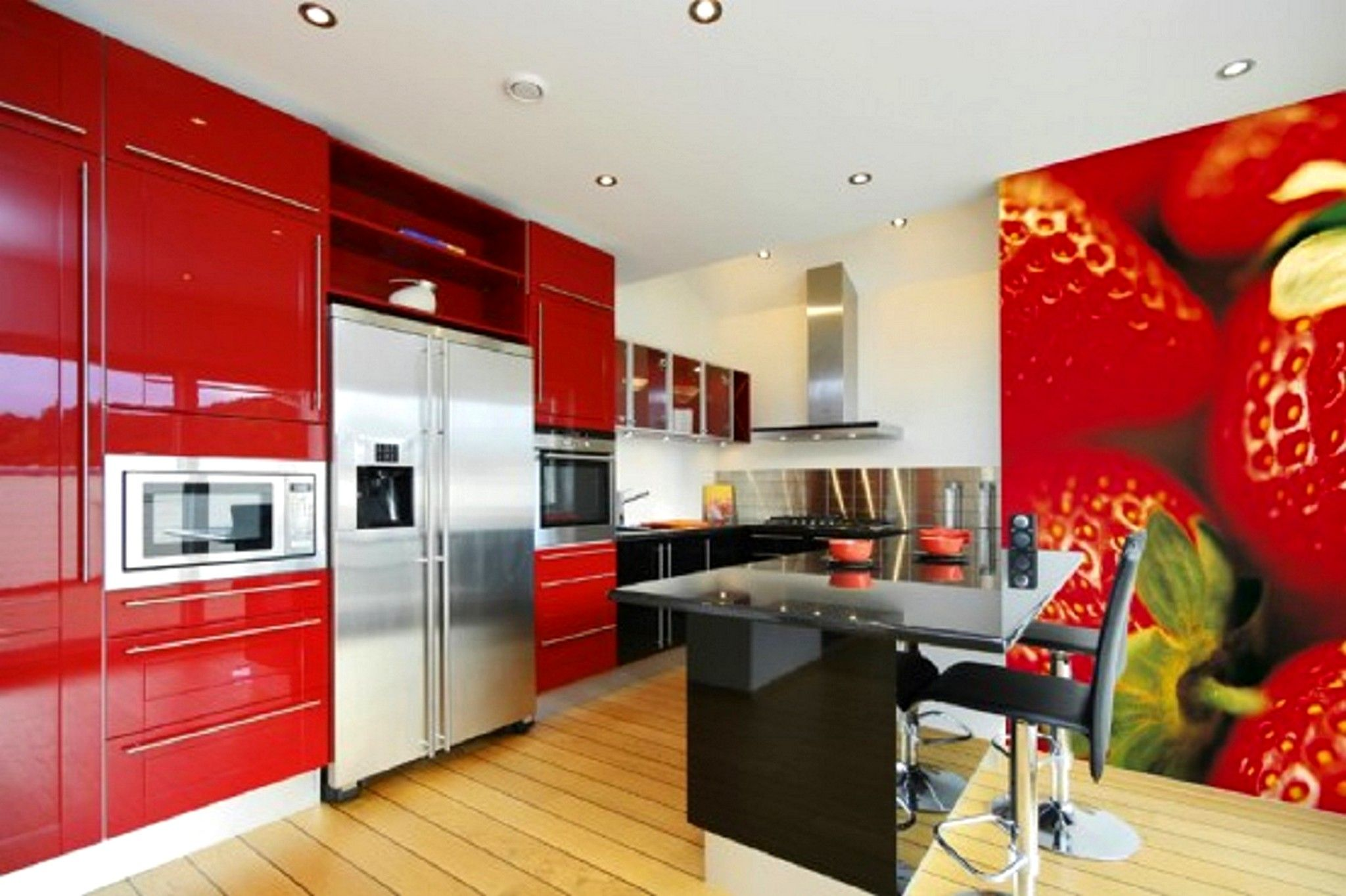 Mod Strawberry Kitchen Red Metal Kitchen Cabinets Kitchen Cabinet Styles New Kitchen Cabinets