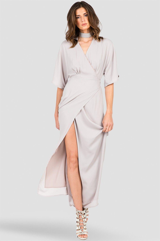 Smoke grey long wrap dress saying i do pinterest kimonos maxi