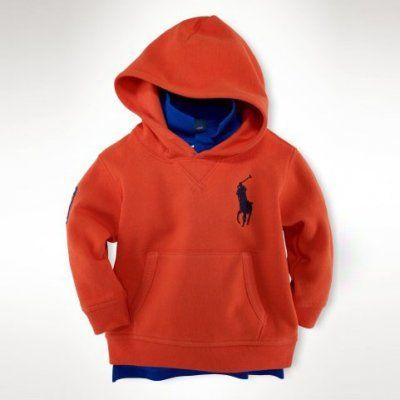 Polo Ralph Lauren Shop By Children Big Pony Fleece Zip Hoodie Orange