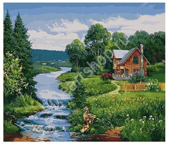Домик у реки, картины раскраски по номерам, своими руками ...