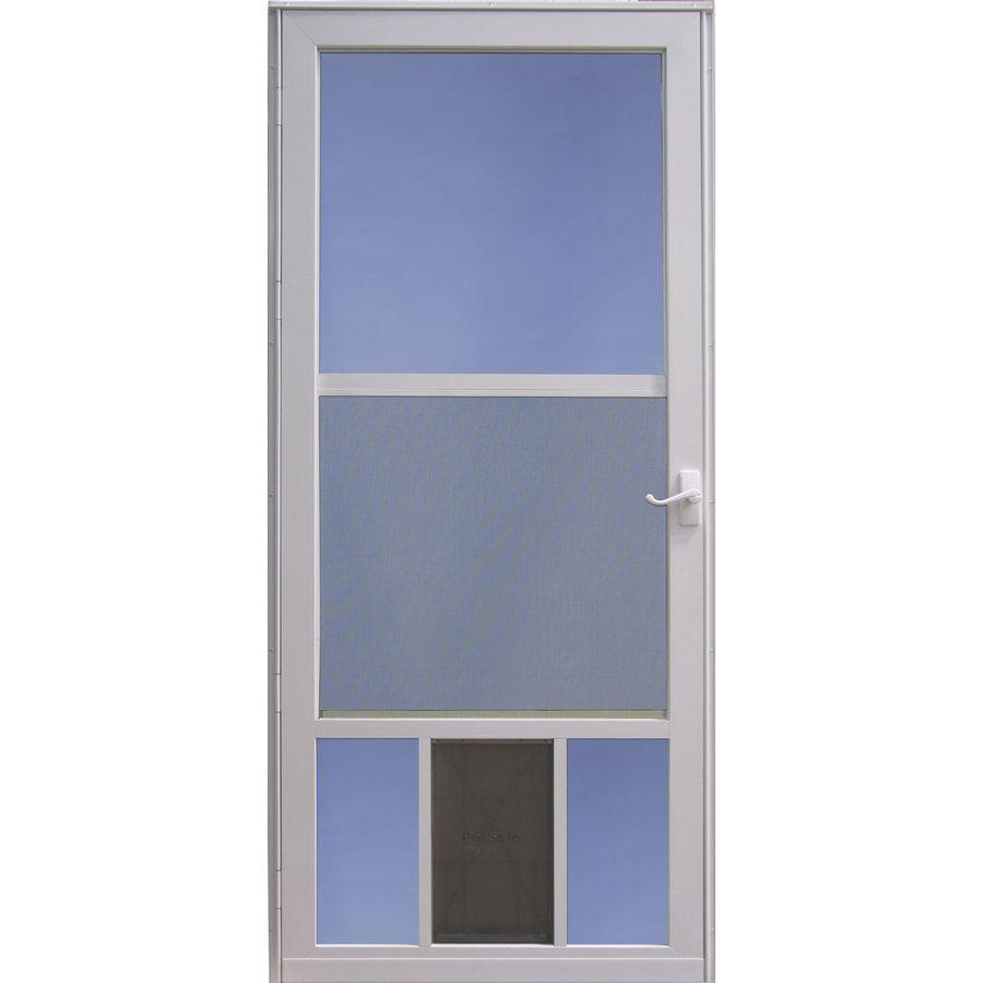 Larson White Mid View Aluminum Storm Door With Pet Door Common 36