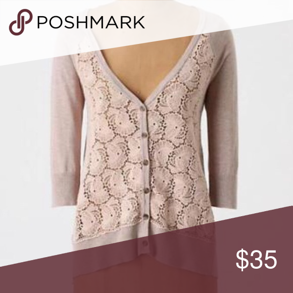 Anthropologie Knitted Knotted Filigree Cardigan Beautiful taupe cardigan with crocheted lace front. Button down. Fishtail hemline. Lightweight. Runs a little big. Excellent condition! Anthropologie Sweaters Cardigans