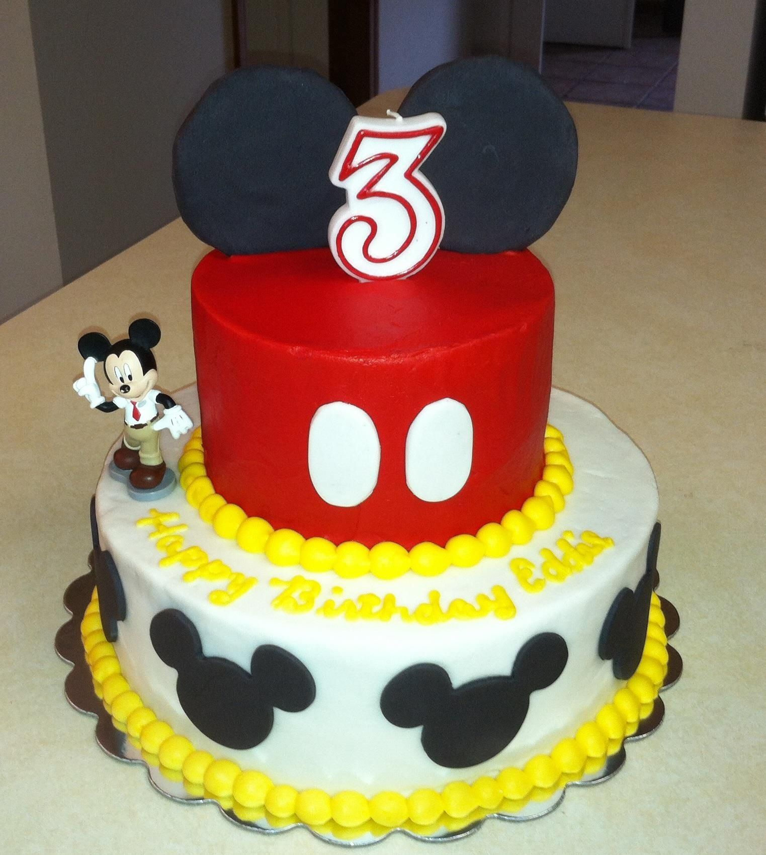 Mickey Mouse Cake Buttercream Cake With Fondant Accents Boy Birthday Cake Mickey Cakes Baby Boy Cakes