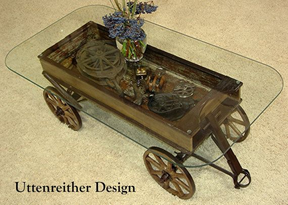 Antique Wood Wagon Coffee Table Glass Top Display Table Rustic