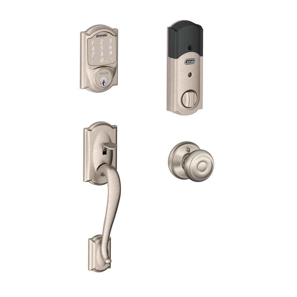 Schlage Camelot Satin Nickel Sense Smart Door Lock With Left Handed Flair Lever Door Handleset Be479aa V Cam 619 Fe285 Cam 619 Fla Lh With Images Smart Door Locks Schlage Smart Lock