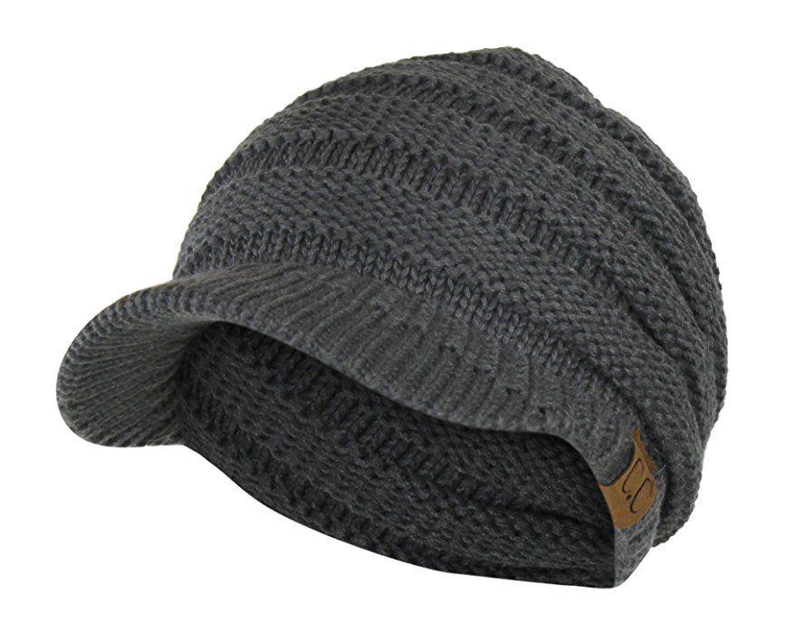 27c43e00081 Black Cable Ribbed Knit Beanie Hat w  Visor Brim - Chunky Winter Skully Cap