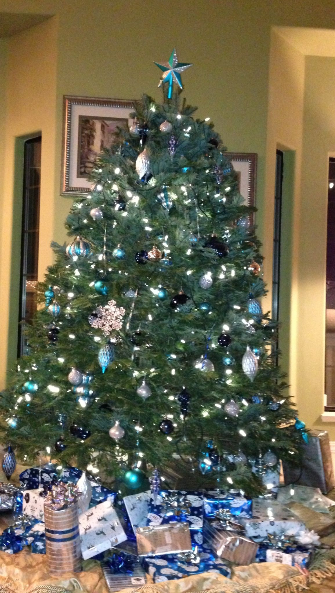 christmas tree decorated with cobalt blue aqua and silver martha stewart decorations from home depot - Martha Stewart Christmas Tree Decorations