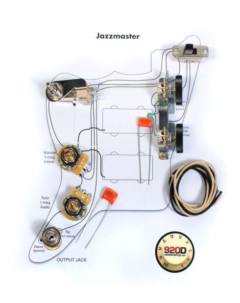 guitar pots wiring diagram how to create a network fender vintage jazzmaster kit switch slider caps bracket reverb