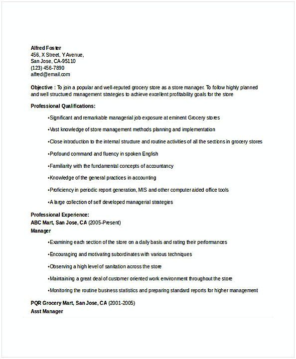 Grocery Store Manager Resume   Resume For Manager Position