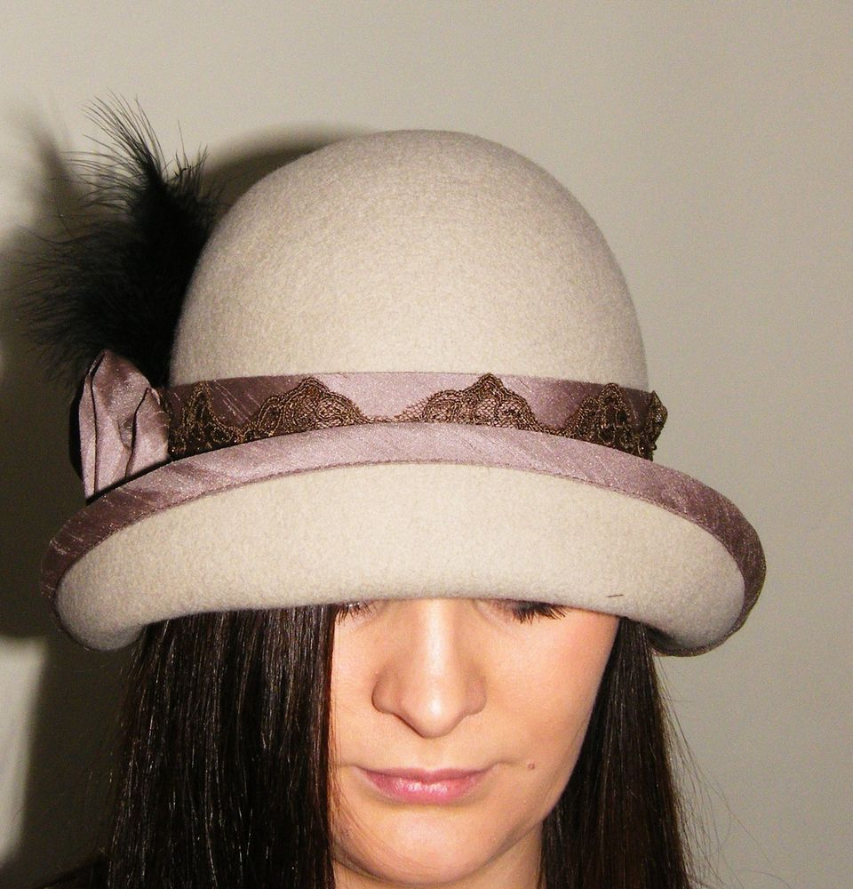 1920'sVintage Style Hand Blocked Wool Felt Cloche Hat Downton Abbey/Great gatsby Made to Order Contact : ajay@theonesiecompany.co.uk