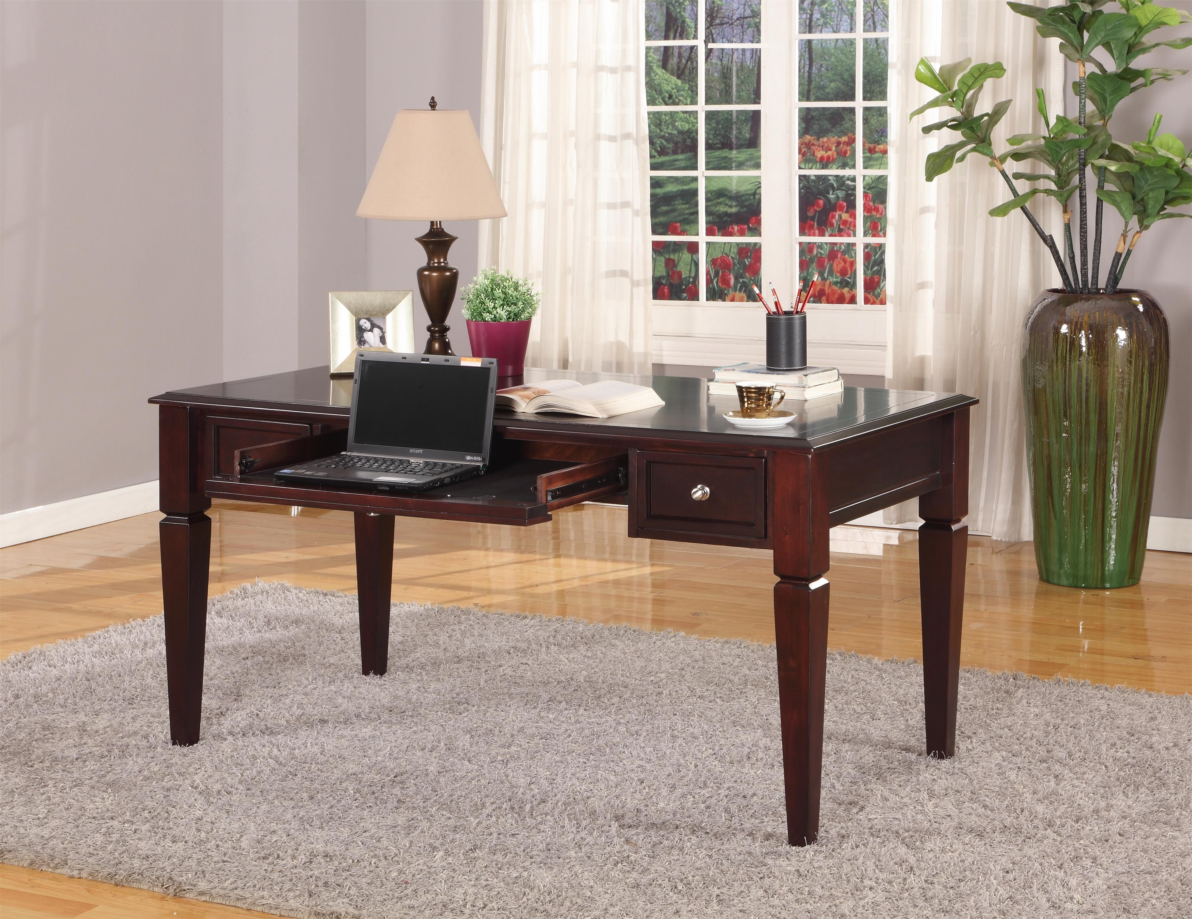 """Parker House Boston 60"""" Writing Desk with Drop Front Keyboard Drawer and 2 Task Drawers at Sheely's Furniture & Appliance"""