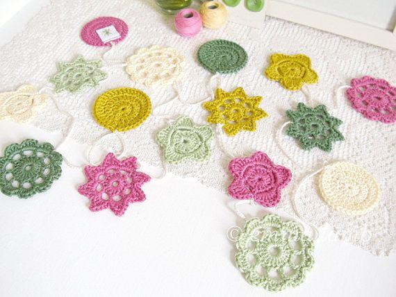 New Year SALE  Nursery decor Yvonne crochet flower by emmalamb, £37.00
