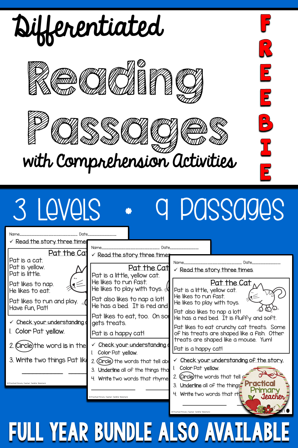 - Differentiated Reading Passages And Questions FICTION FREE