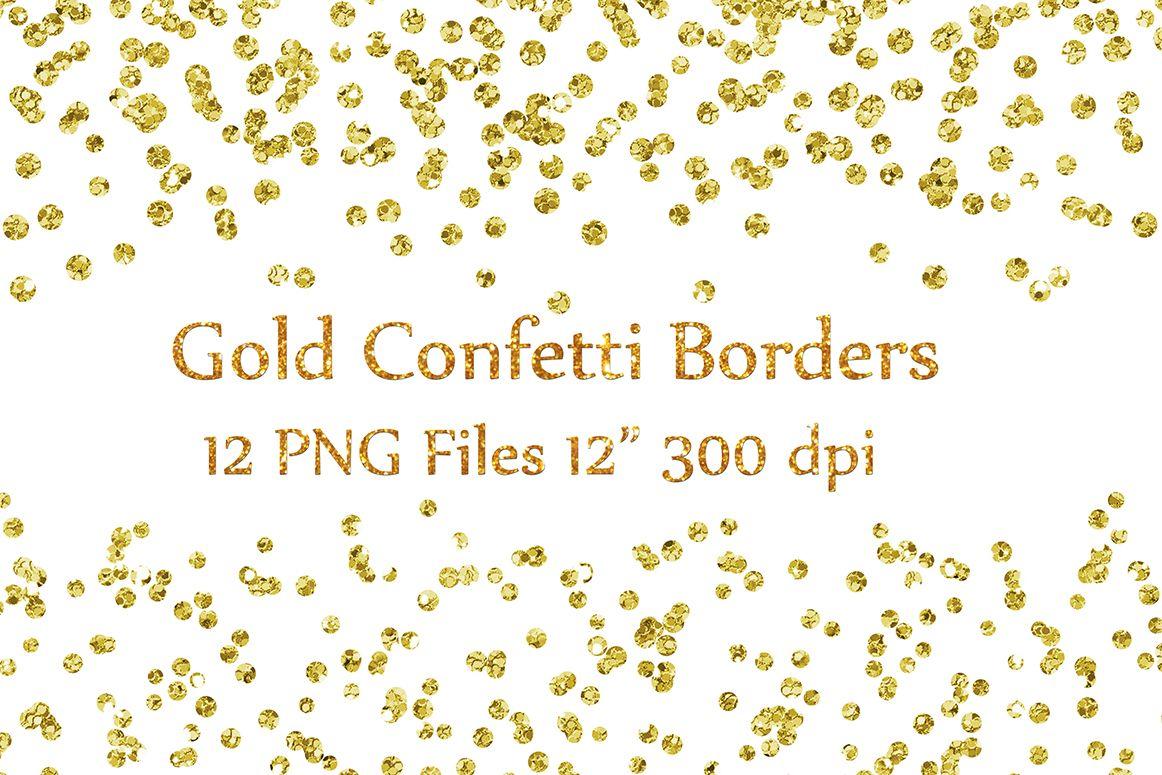 Gold Confetti Borders Clipart,GLITTER CONFETTI Clipart