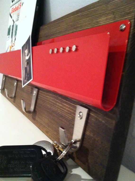 Poppy RED//Urban Industrial Steel, Magnetic Wall Mount Mail Holder/iphone/  · Laptop StorageHome ...