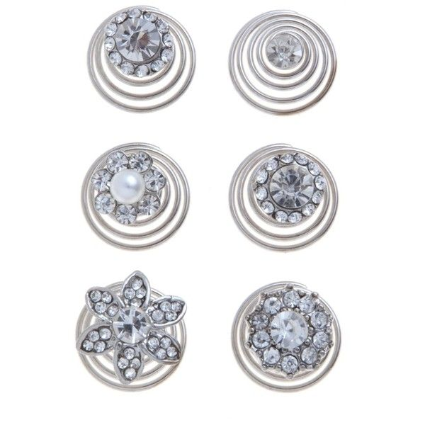 6 Pack Silver Crystal Diamante Hair Swirls ($7.72) ❤ liked on Polyvore