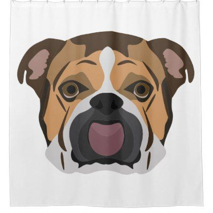 Illustration English Bulldog Shower Curtain