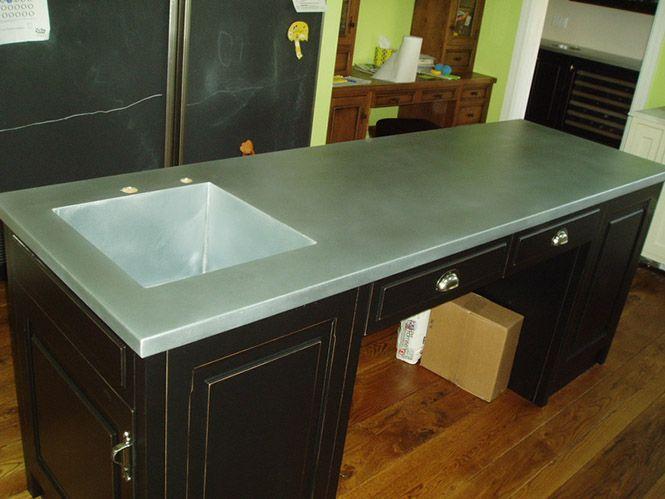 Matte Zinc Kitchen Island Top With Integral Sink Zinc Countertops Countertops Zinc Countertops Kitchen