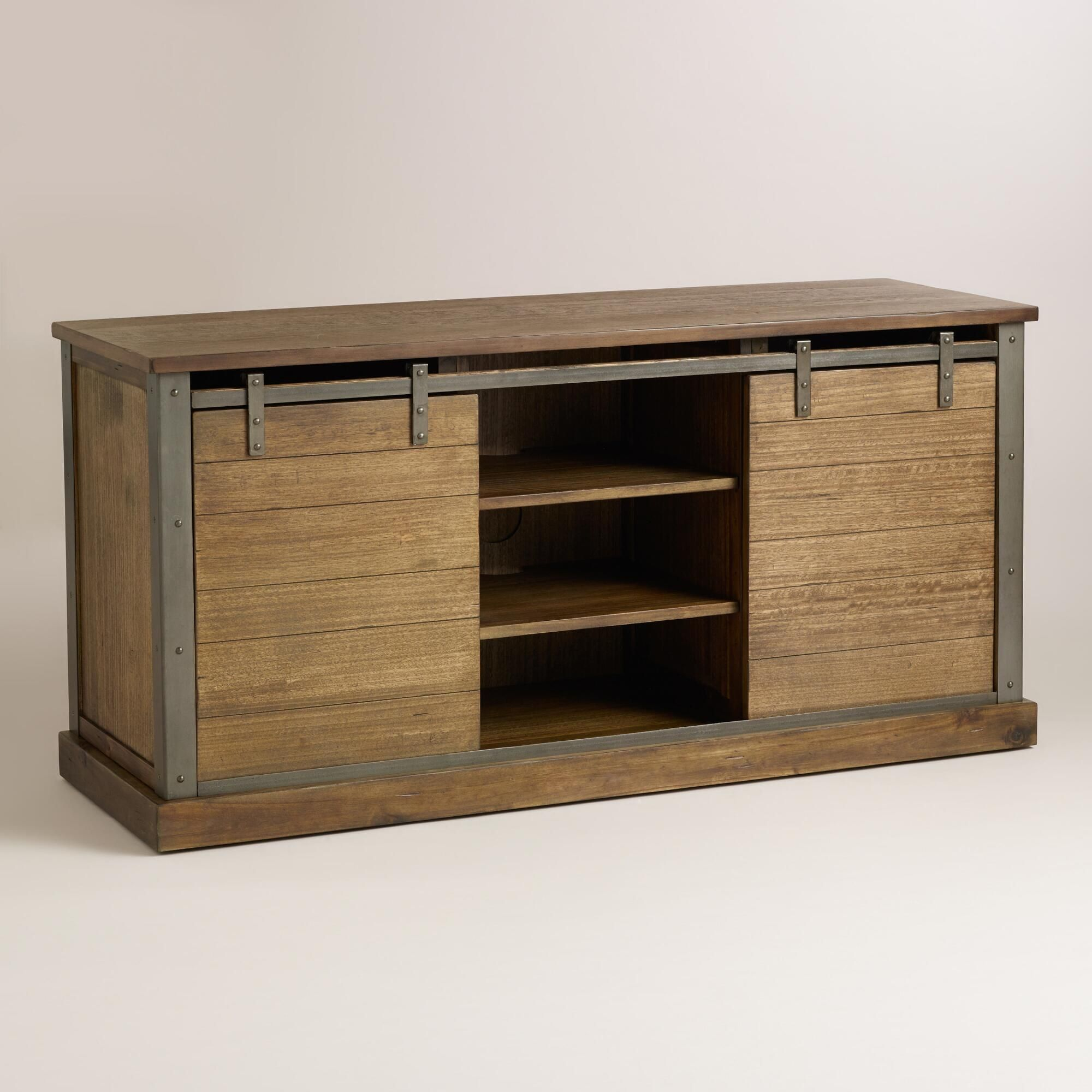 Sliding Barn Door Console Cabinet: Inspired By Doors Found On Old Barns, Our Rustic Media