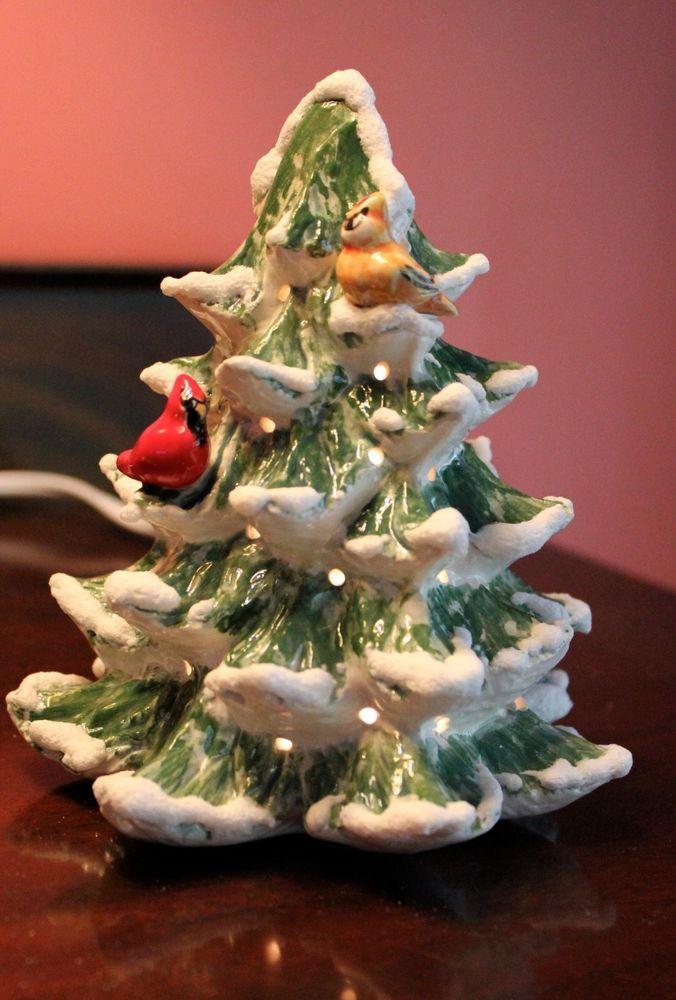 Ceramic Christmas Tree Painting Ideas.Lighted Small Feather Ceramic Christmas Tree W Cardinals 6