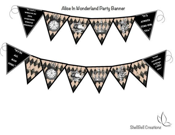 Alice In Wonderland Party Banner by ShellBellCreationz on Etsy
