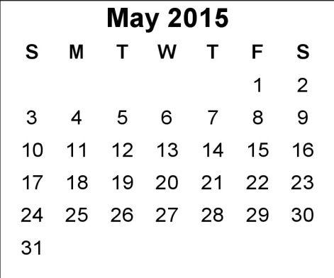 May 2015 Calendar Uk Printable Pdf Template Excel Doc Download