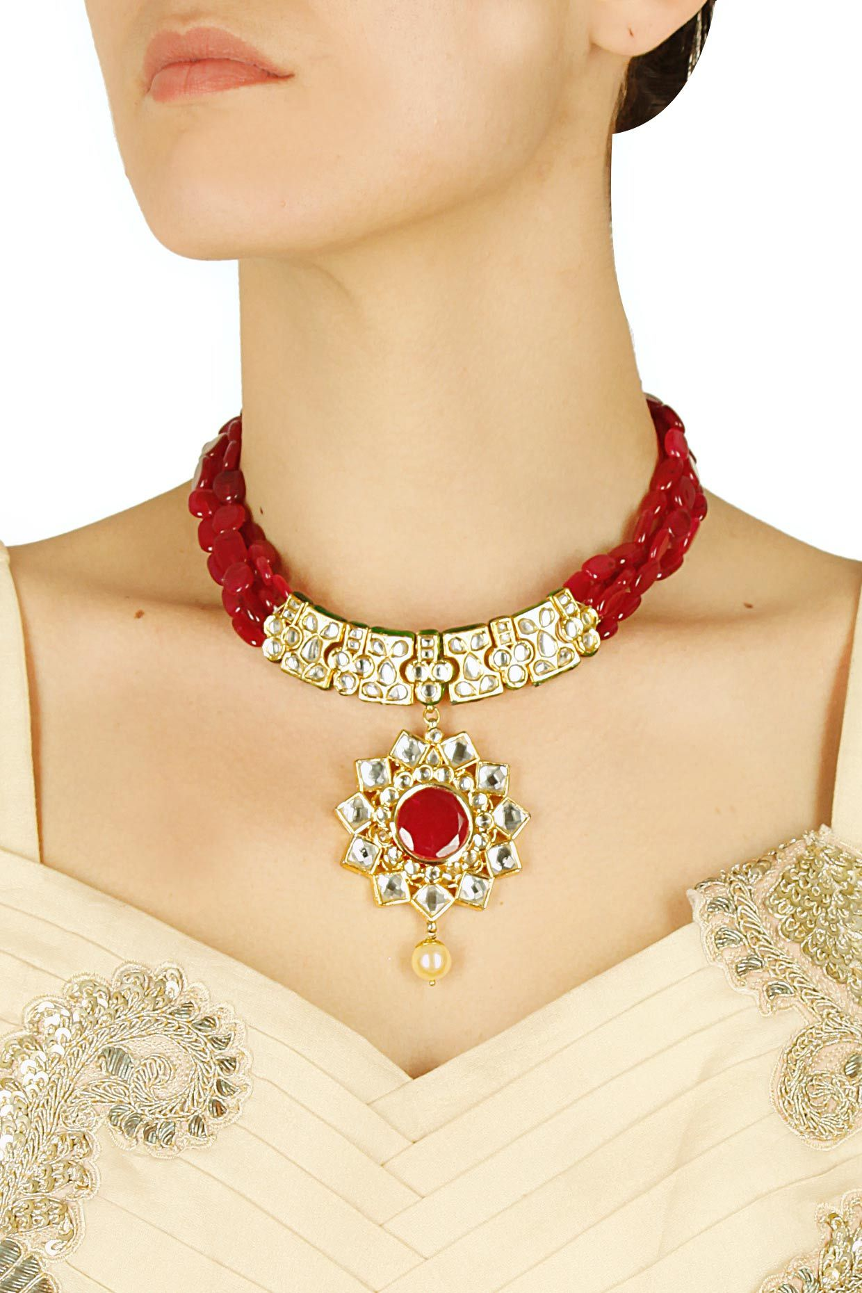 Gold finish multilayer kundan and red quartz stone necklace available only at Pernia's Pop Up Shop. .#perniaspopupshop #shopnow #newcollection ##happyshopping #accessories #anajalijain