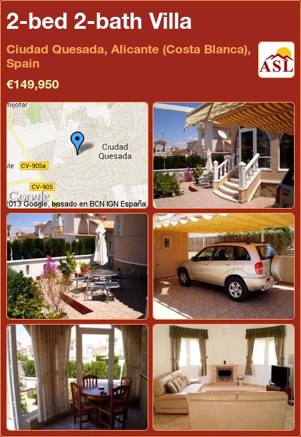2-bed 2-bath Villa in Ciudad Quesada, Alicante (Costa Blanca), Spain ►€149,950 #PropertyForSaleInSpain