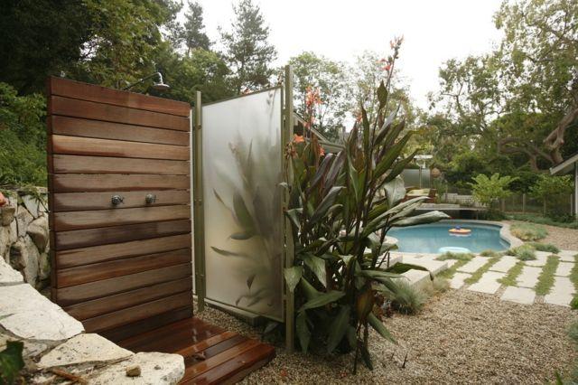 Holz Le Design gartendusche glas paravent holz bangkirai wand boden outdoor
