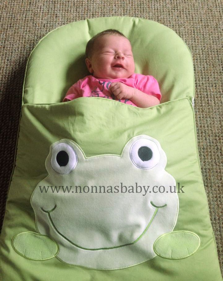 64598275b1f1 Baby Vada looks so comfy in her Googly Green Nap Mat. She is so cute ...