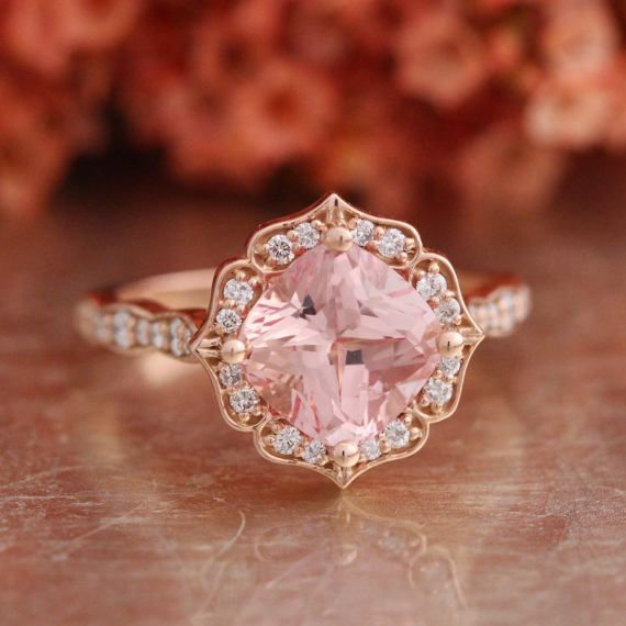 I Want This Peach Sapphire Engagement Ring Rose Engagement Ring