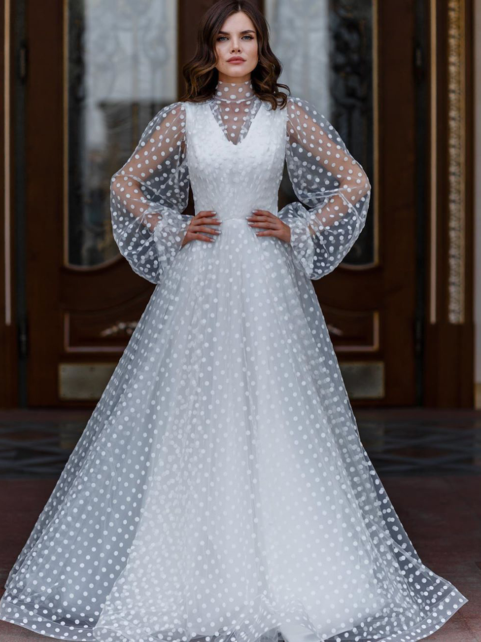 Polka Dots Tulle Long Sleeve Wedding Dresses White S Xl Solid Wedding Dress Tulle Sleeves Polka Dot Tulle Wedding Dress Wedding Dress Long Sleeve