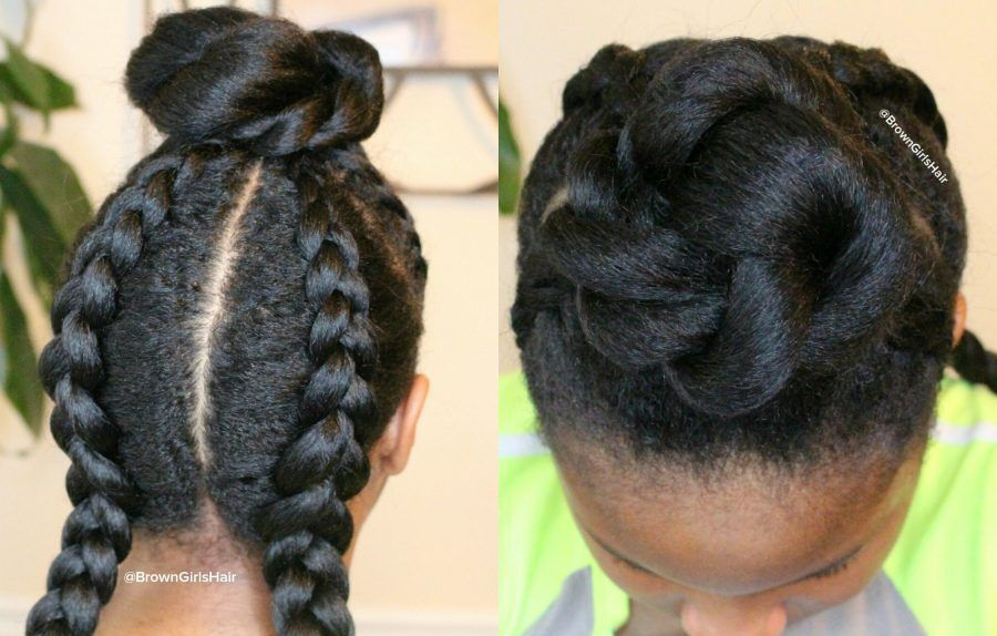 Check out the tutorial for this hairstyle here...http://www.browngirlsstyle.com/top-bun-cornrows-hairstyle/#teamnatural #hairstyle #browngirlshair