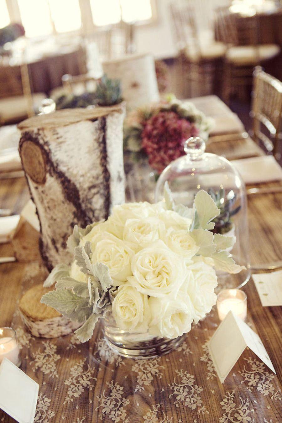 Wood wedding decoration ideas   Soft Romantic Wedding Centerpieces  Wedding centerpieces