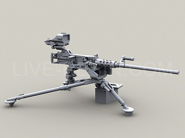 M2 Browning 50 Caliber Machine Gun On M3 Tripod With Mk93 Heavy