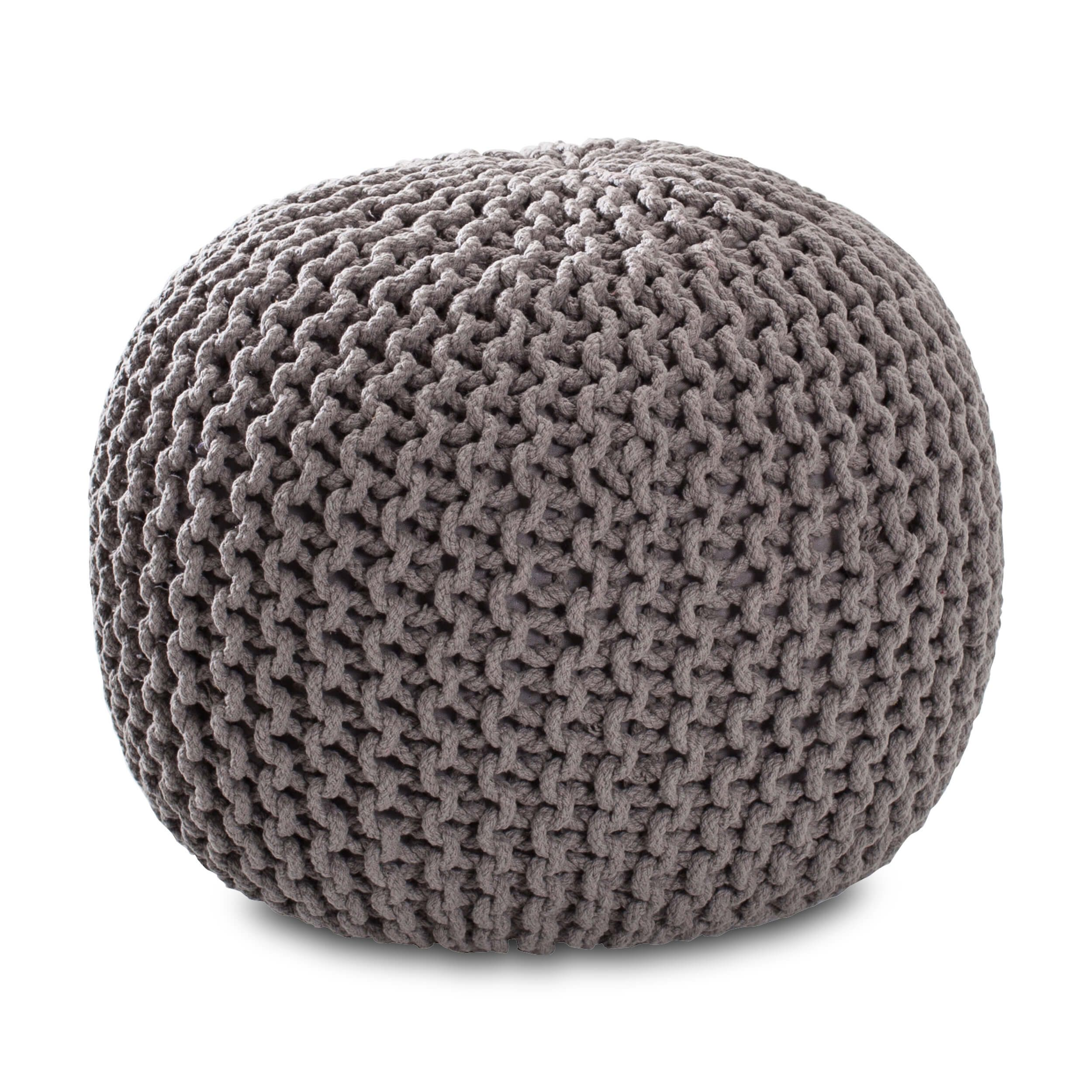 This Soft Handknit Pouf Can Be Used As An Ottoman Or Extra