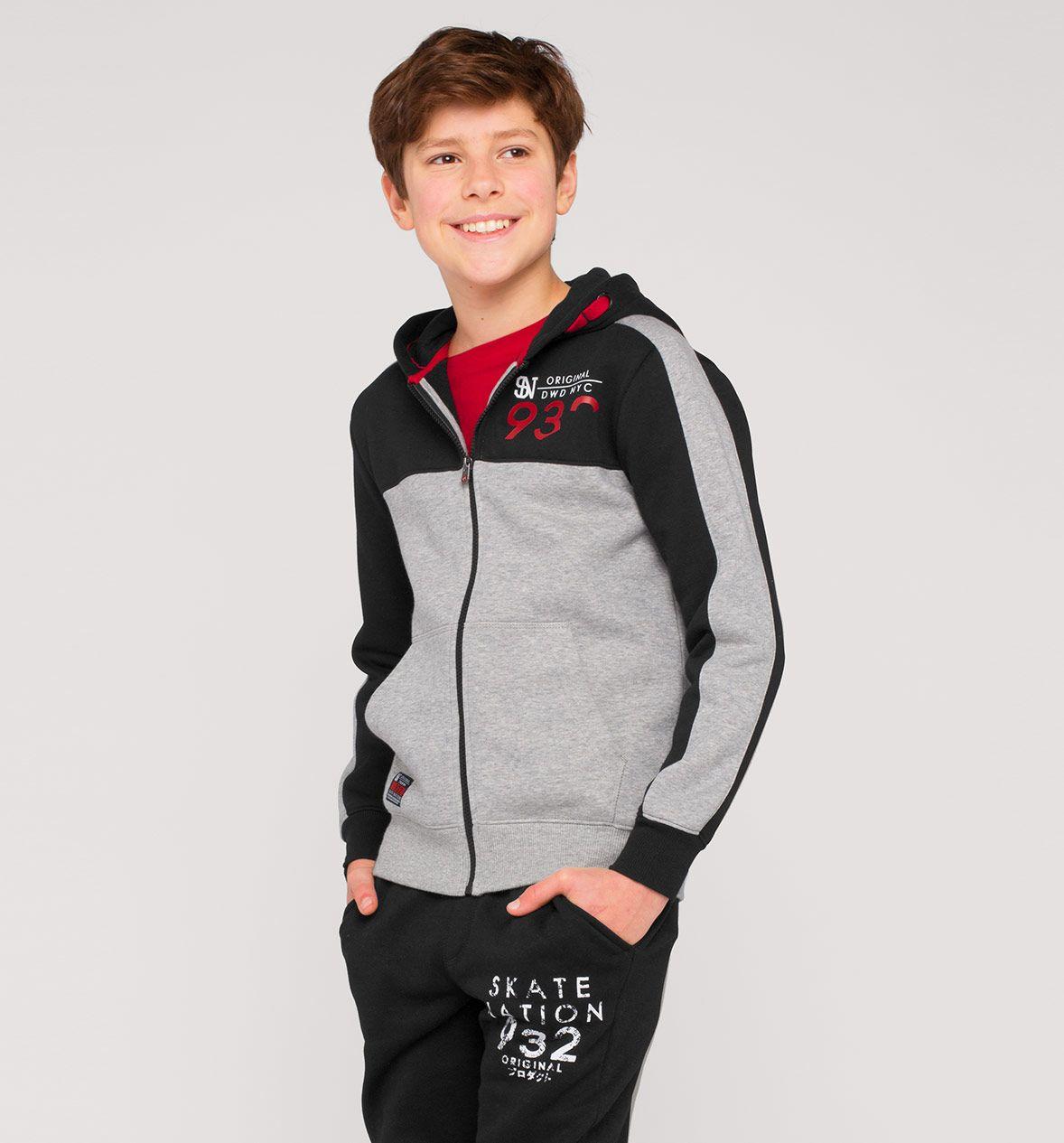 design intemporel 9e1b9 3a983 Veste en sweat avec capuche dans gris / noir | hiver 2019 ...