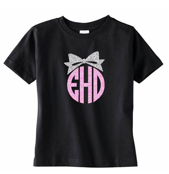 Monogram Toddler TShirt with Bow Girls Initial by VinylDezignz, $15.95
