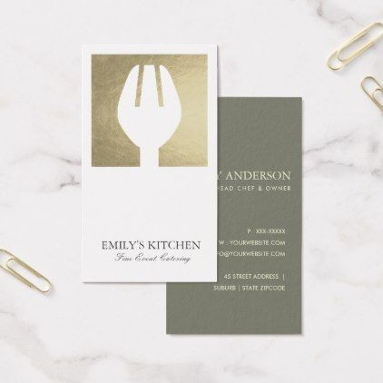 Elegant minimal faux silver fork chef catering business card - bartische f r k che
