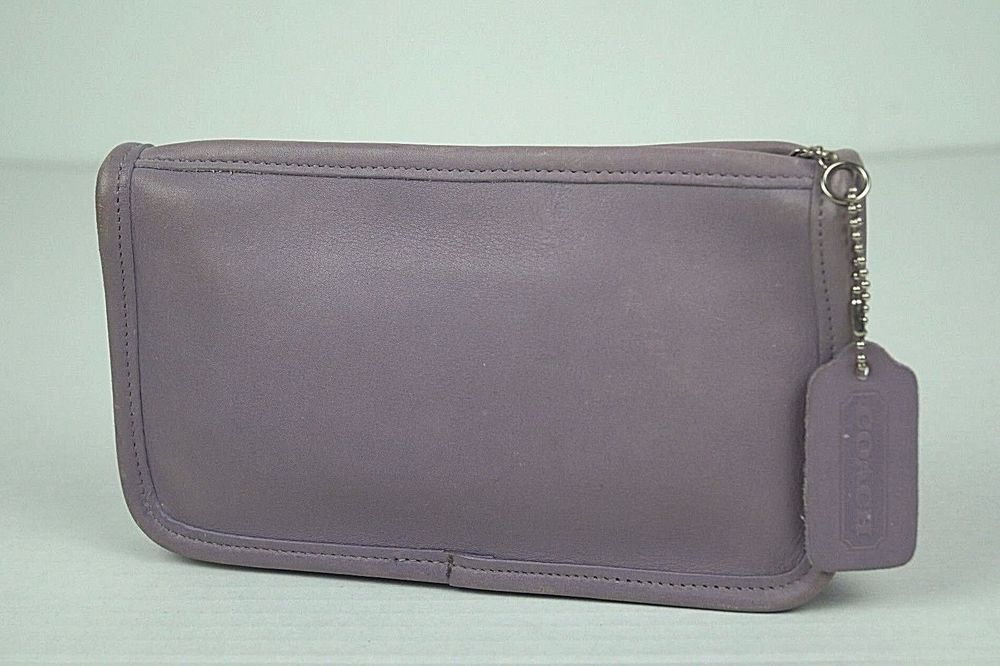 VTG Rare COACH Lavender Purple Leather Travel Cosmetic Bag Coin Pencil Purse #Coach #CosmeticBags